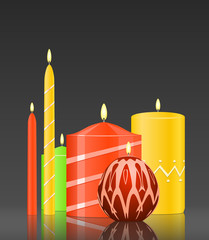 Vector set burning candles on glossy dark background