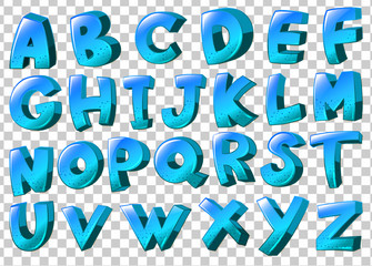 Letters of the alphabet in blue colors