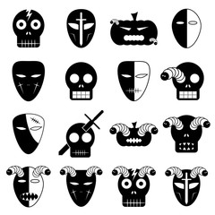 Halloween mask icon set. Vector Illustration