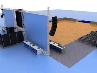 Stand fieristici, concerto, palco, palasport, entertainment
