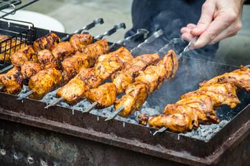 Cooking Shish kebab on fire