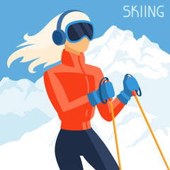 Girl skier on mountain winter landscape background.