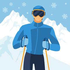 Man skier on mountain winter landscape background.