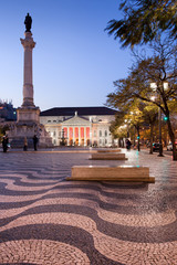 Rossio Square at Dusk in Lisbon