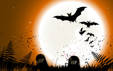 Halloween background - destroyed cemetery in full moon