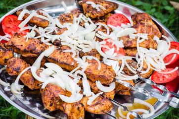Shish kebab with tomatoes and onion