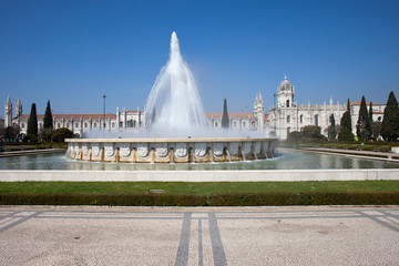 Garden Praca do Imperio and Jeronimos Monastery in Lisbon