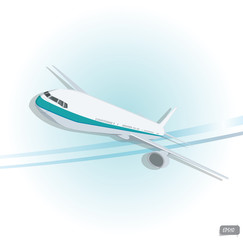 Vector airplane top view. Vector illustration.