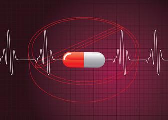 Heart Beat On Pill Background