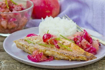 fried sea perch with apple chutney