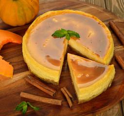 Pumpkin cheesecake with caramel icing