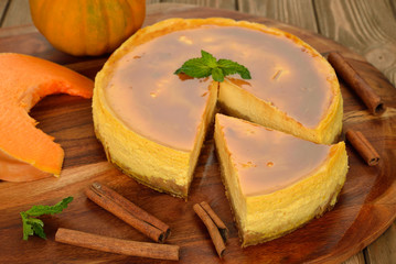 Pumpkin cheesecake with caramel icing