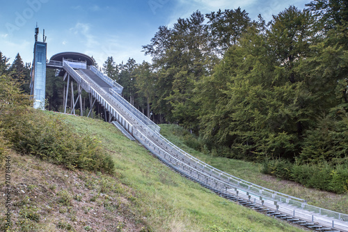 Leinwanddruck Bild muelenkopf worldcup ski jump willingen in the summer