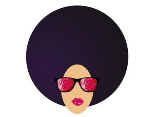 lunettes disco afro Fond Blanc