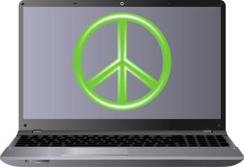 laptop i symbol pokoju