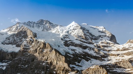 Jungfrau Mountain Range with Blue Sky in Switzerland