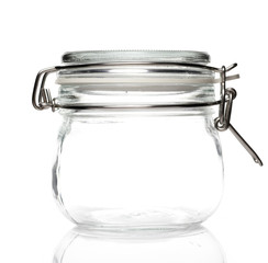 Vacuum Glass Jar on White background