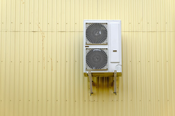 Industrial Cooling System on the metal wall and a lot of
