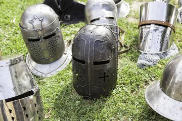 Old medieval helmets