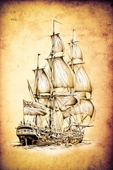 antique boat sea motive drawing art