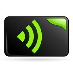 réseau sur bouton web rectangle vert