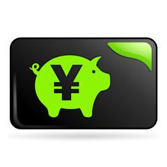 tirelire yen sur bouton web rectangle vert