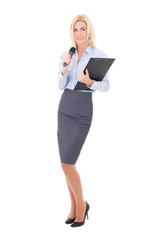 young female journalist with microphone and clipboard isolated o