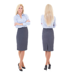 front and back view of young beautiful woman in business suit is
