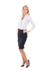 beautiful business woman posing isolated on white
