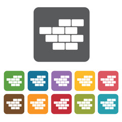 Bricks building icon. Building and construction and home repair