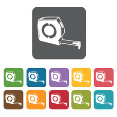 Measuring tape building icon. Building and construction and home