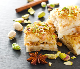 Turkish pistachio pastry dessert  baklava with green pistachios