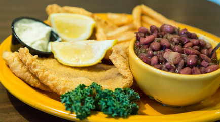 Fried Fish Dinner with Red Beans and Rice