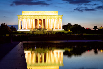 The Lincoln Memorial at dusk, Washington DC, USA