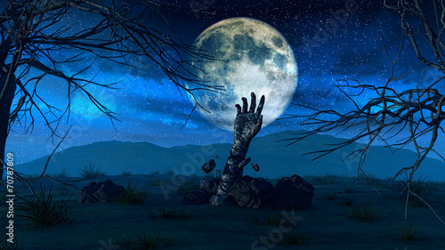 canvas print picture Halloween background with zombie hand