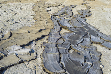 Mud volcanoes's cracks and clay