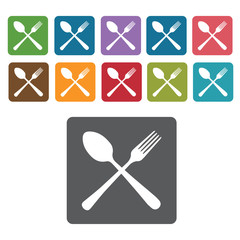 Crossed Fork and Spoon icon. Cutlery Set and Kitchen Knives icon