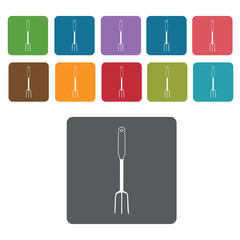 Pitch fork icon. Cutlery Set and Kitchen Knives icon set. Rectan