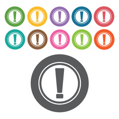 Caution icon. Danger icon set. Round colourful 12 buttons. Vecto