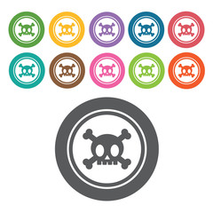 Poison icon. Danger icon set. Round colourful 12 buttons. Vector
