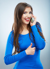 Isolated portrait of young woman phone call. Isolated beautiful
