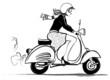 Woman riding vespa - 70788813