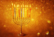 menorah with candels and glitter lights background. hanukkah con