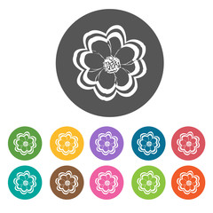 Zinnia icon. Flower icon set. Round  colourful 12 buttons. Vecto
