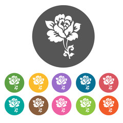 Black rose icon. Flower icon set. Round  colourful 12 buttons. V