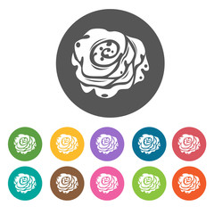 Rose budd icon. Flower icon set. Round  colourful 12 buttons. Ve