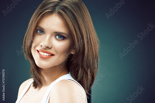 canvas print picture Young beauty woman face. Long Hair