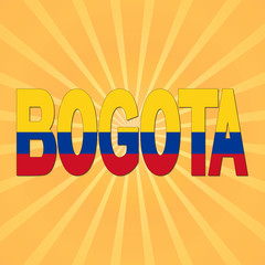 Bogota flag text with sunburst illustration