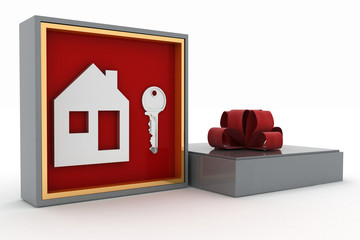 Key and symbol of house in gift box. Concept of your dream house
