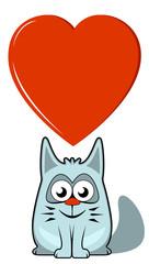 cartoon cat with big heart